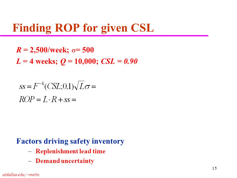 Finding ROP for given CSL