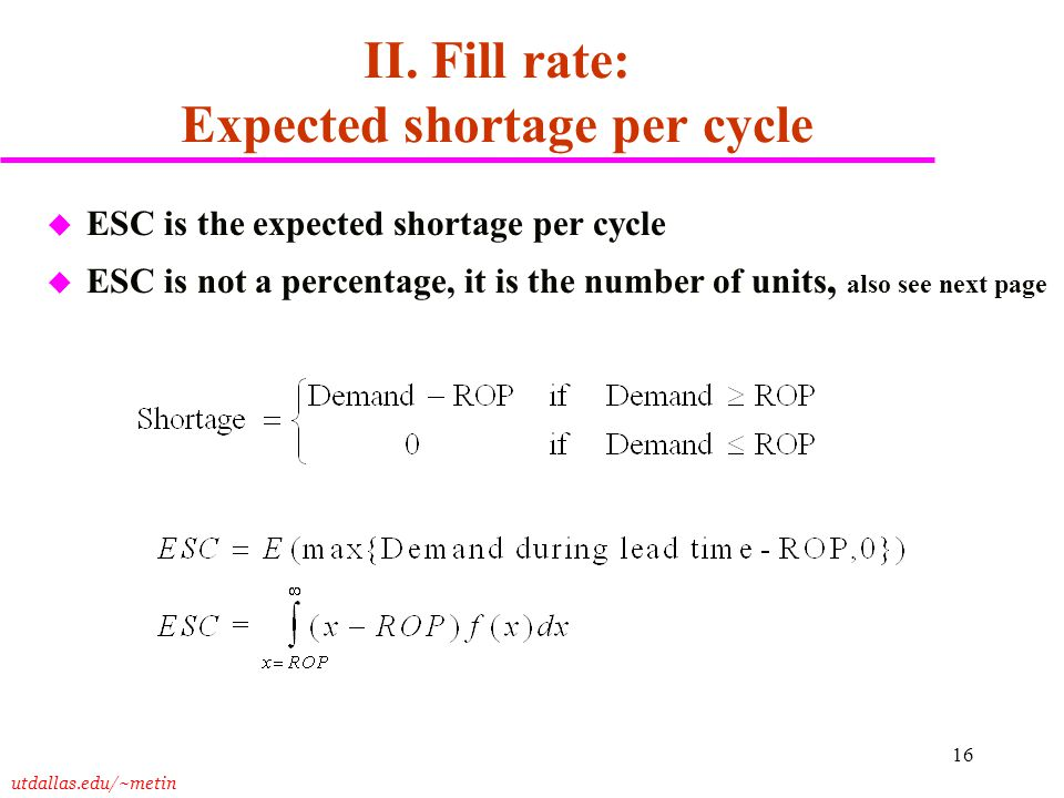 II. Fill rate: Expected shortage per cycle