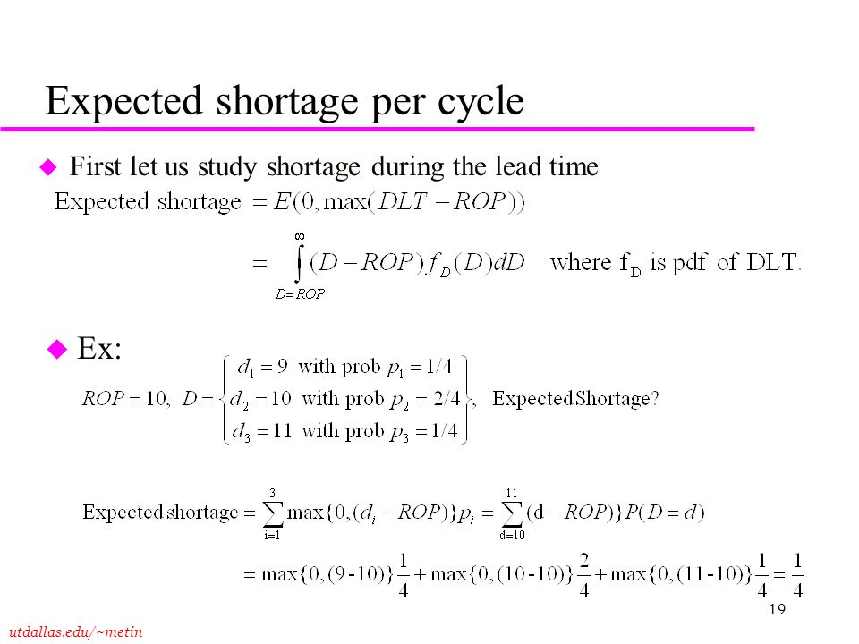 Expected shortage per cycle