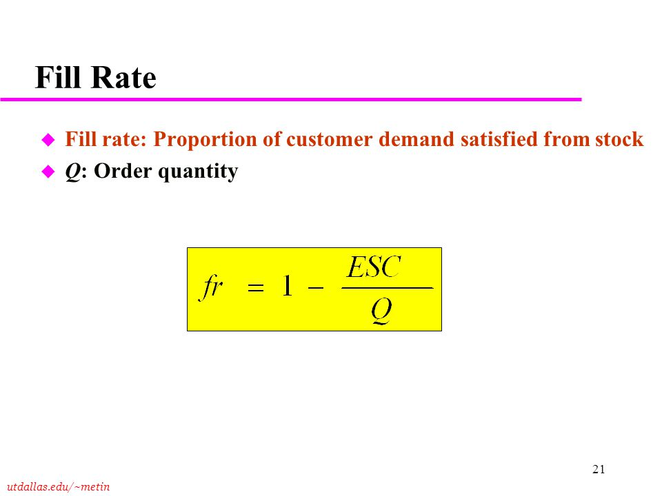 Fill Rate Fill rate: Proportion of customer demand satisfied from stock Q: Order quantity Notes:
