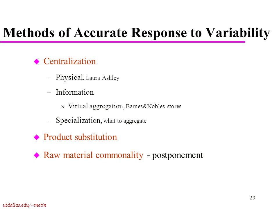 Methods of Accurate Response to Variability