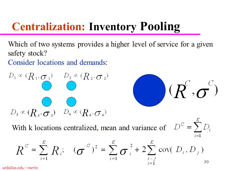 Centralization: Inventory Pooling