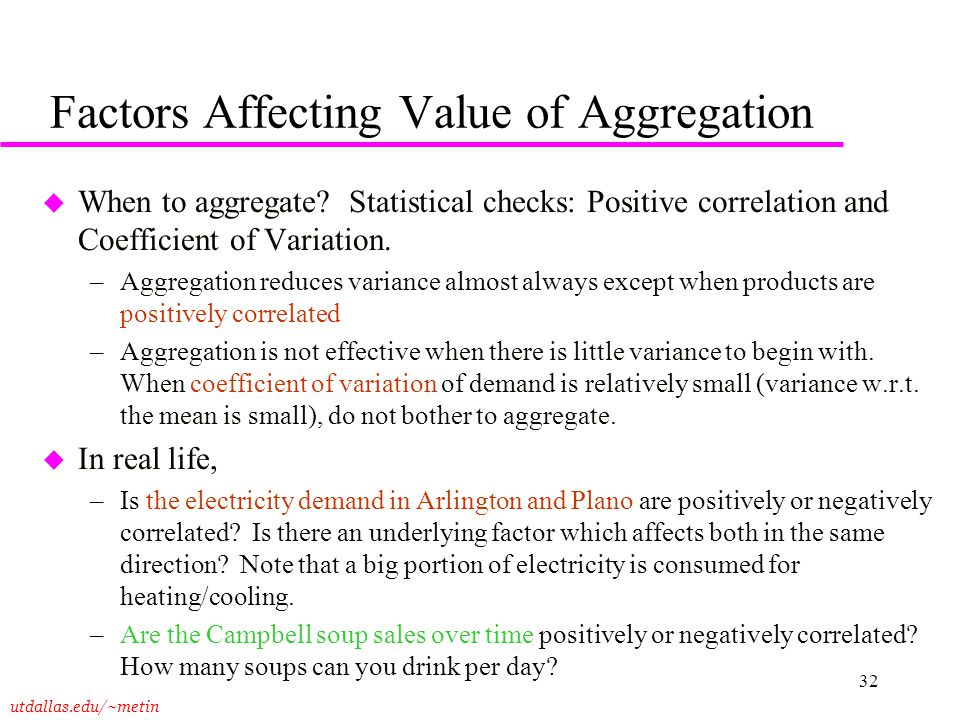 Factors Affecting Value of Aggregation