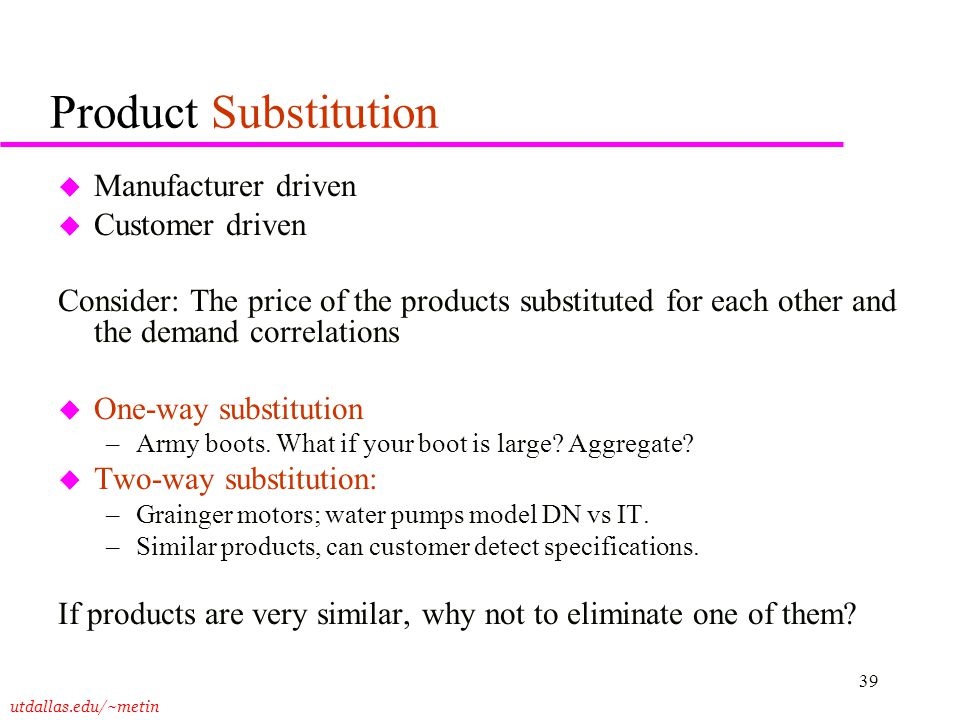 Product Substitution Manufacturer driven Customer driven