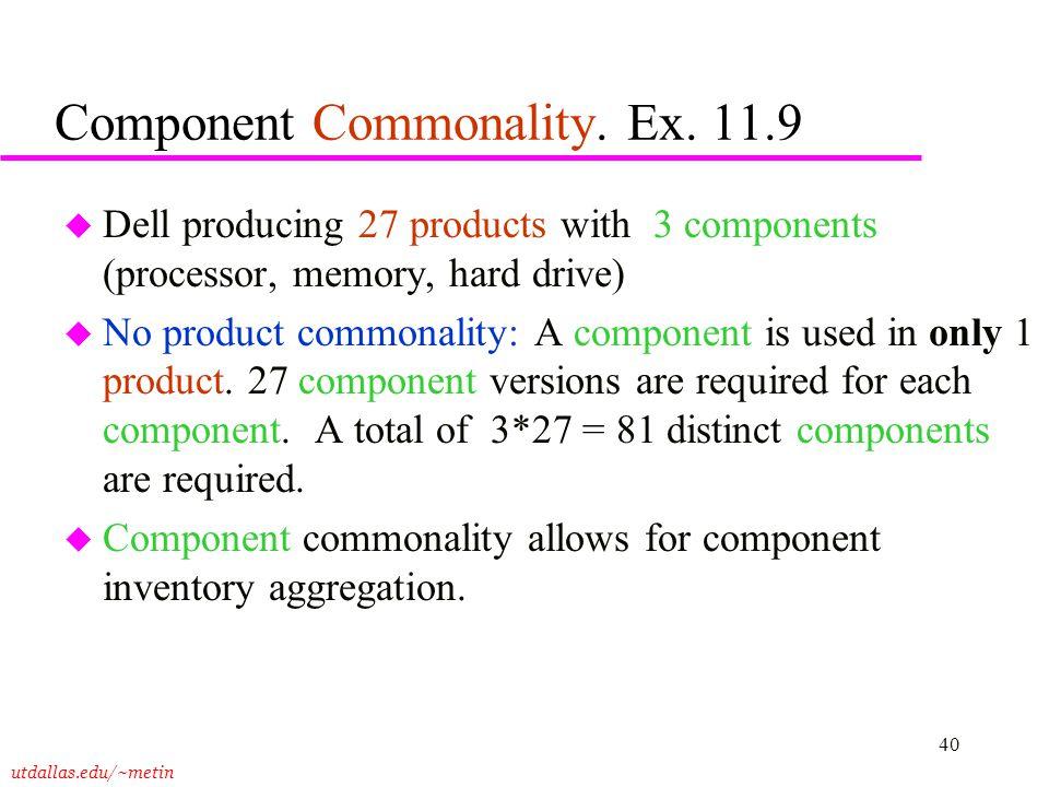 Component Commonality. Ex. 11.9
