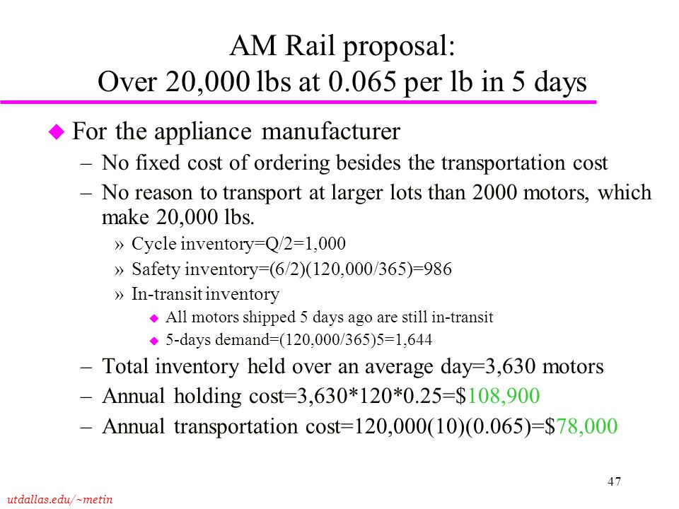 AM Rail proposal: Over 20,000 lbs at 0.065 per lb in 5 days