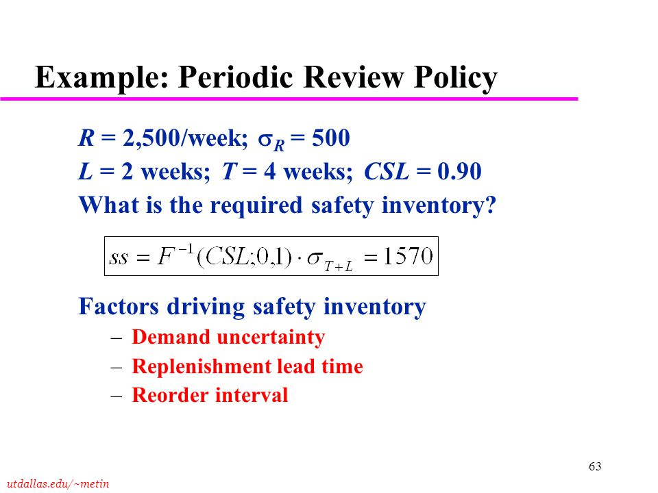 Example: Periodic Review Policy