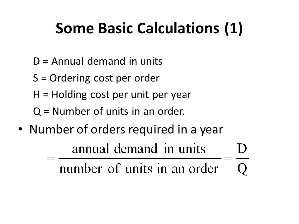 Some Basic Calculations (1)