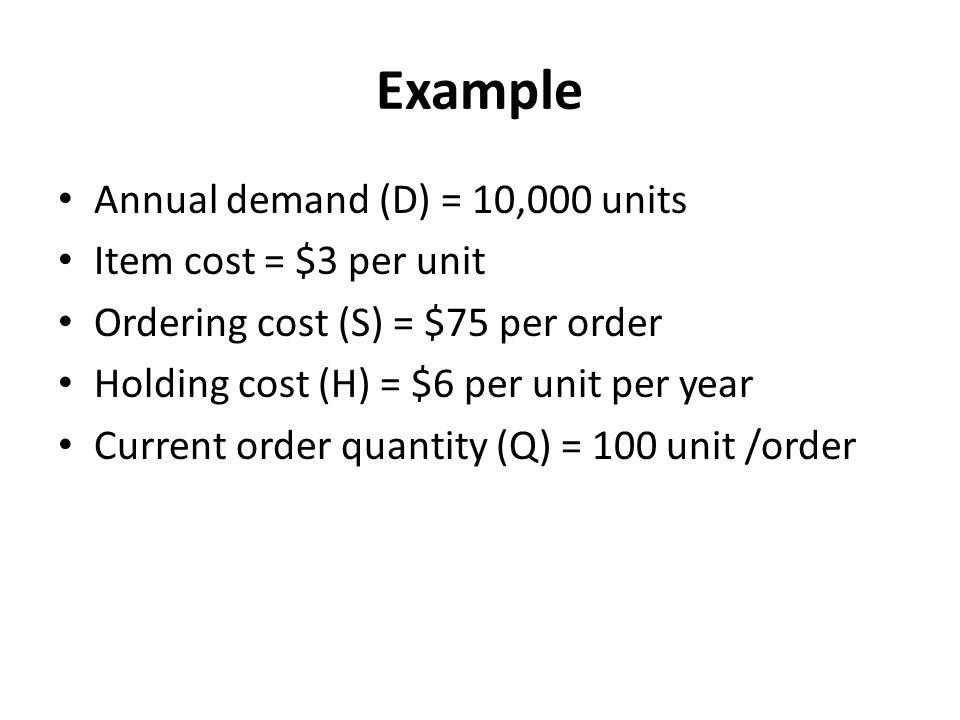 Example Annual demand (D) = 10,000 units Item cost = $3 per unit