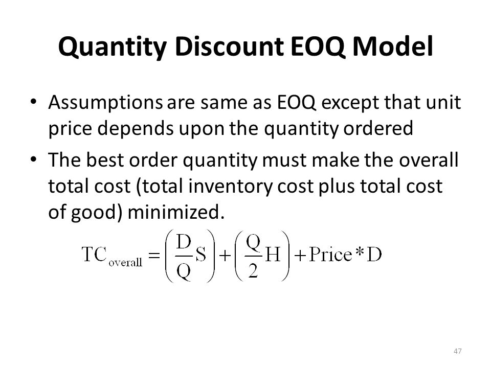 Quantity Discount EOQ Model