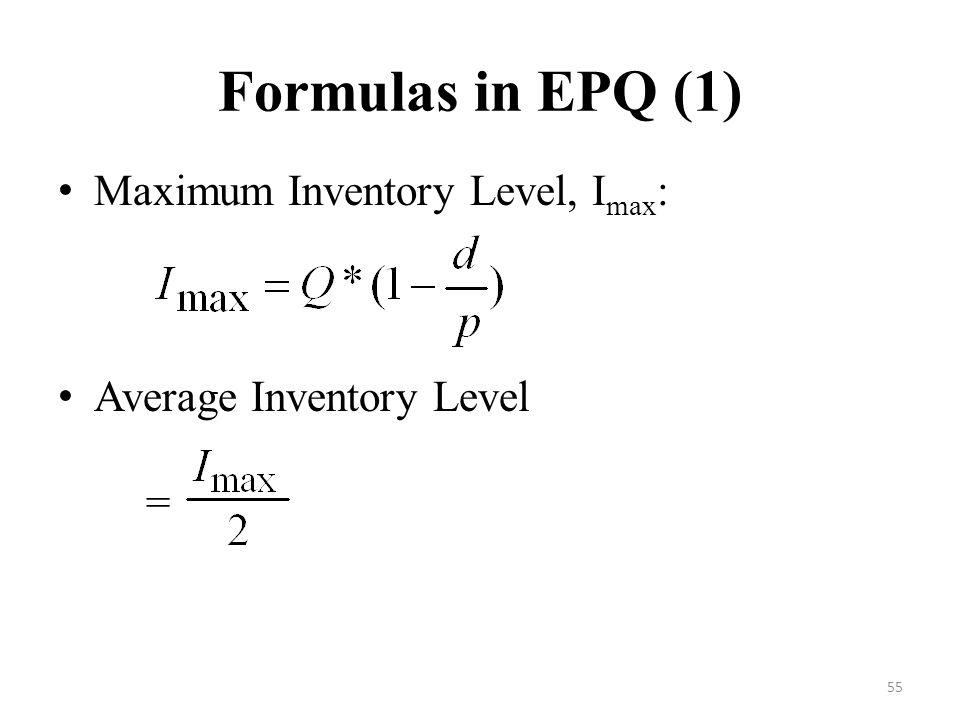 Formulas in EPQ (1) Maximum Inventory Level, Imax: