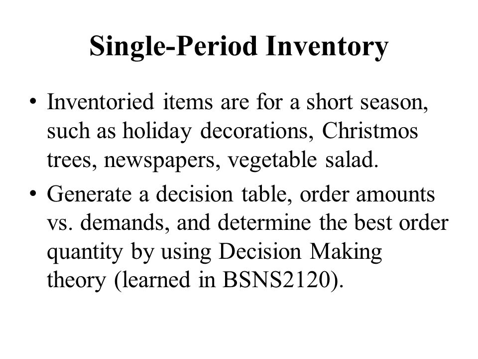 Single-Period Inventory