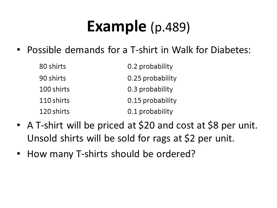 Example (p.489) Possible demands for a T-shirt in Walk for Diabetes: