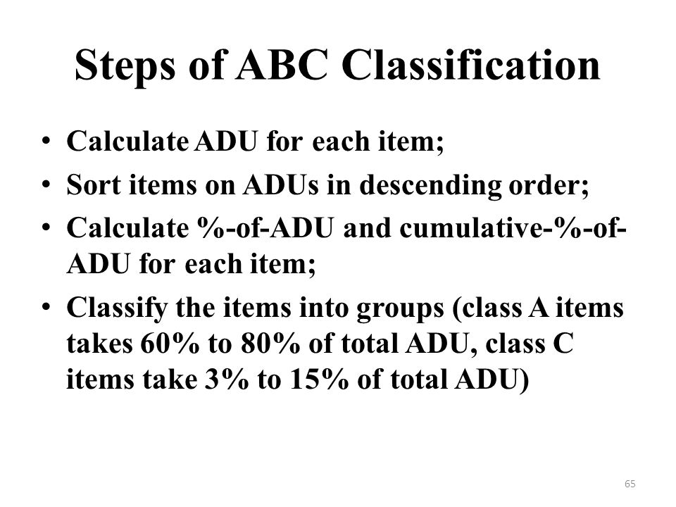 Steps of ABC Classification