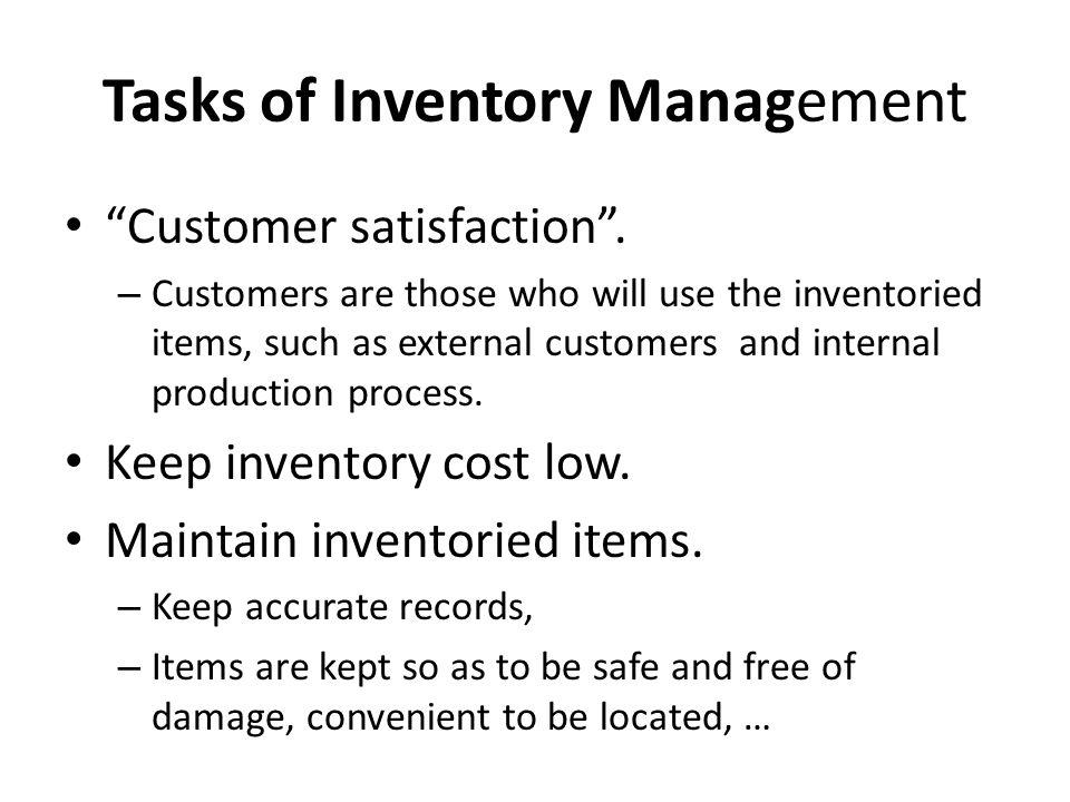 Tasks of Inventory Management