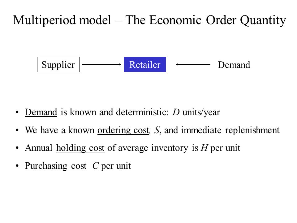 Multiperiod model – The Economic Order Quantity