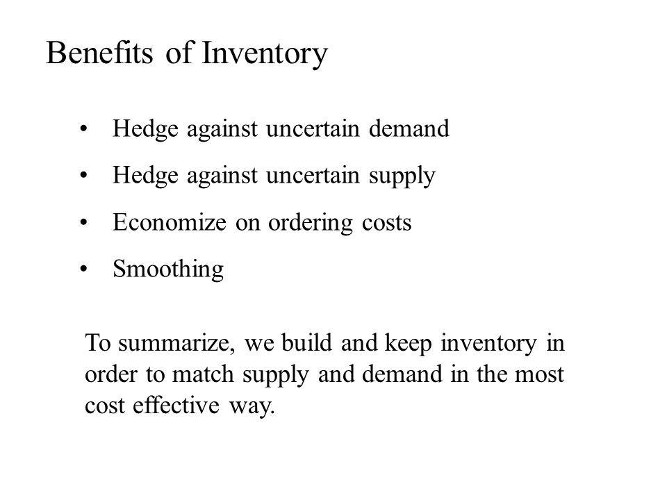Benefits of Inventory Hedge against uncertain demand