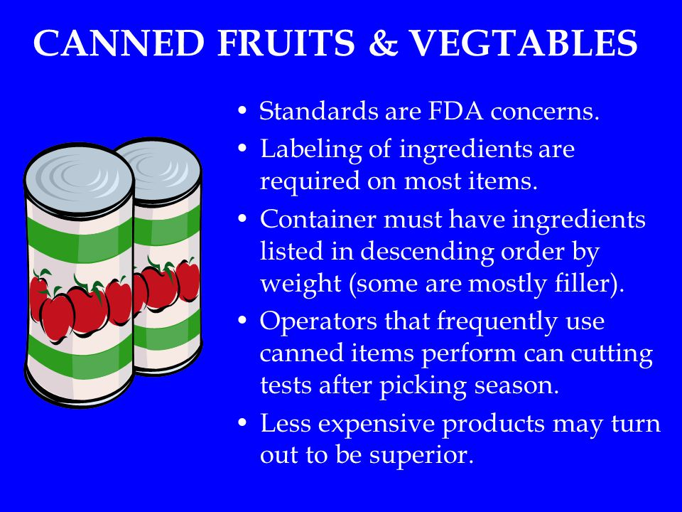 CANNED FRUITS & VEGTABLES