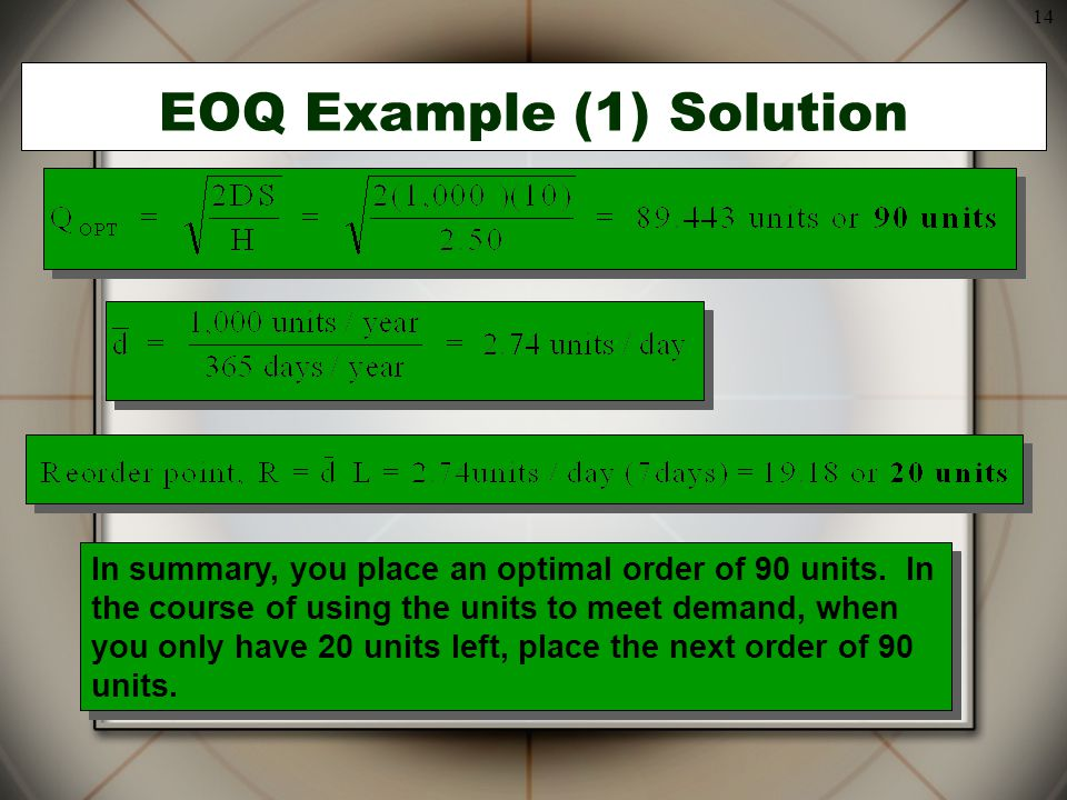 EOQ Example (1) Solution