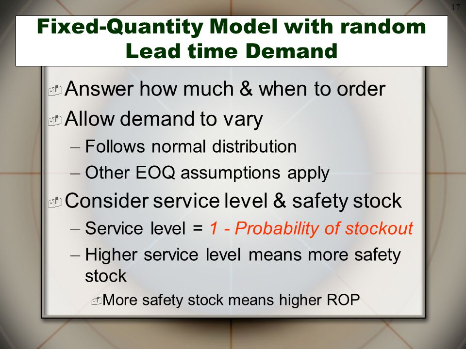 Fixed-Quantity Model with random Lead time Demand