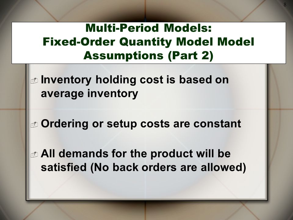 Inventory holding cost is based on average inventory
