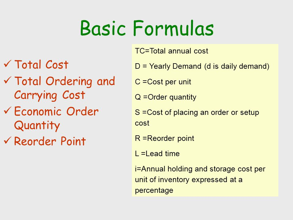 Basic Formulas Total Cost Total Ordering and Carrying Cost