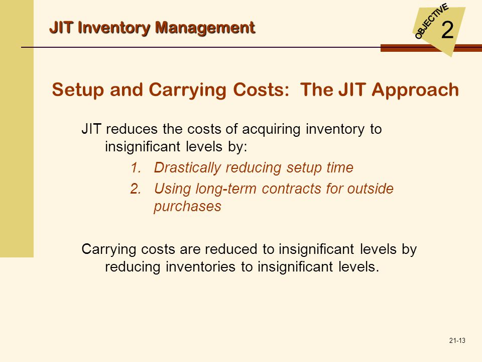 Setup and Carrying Costs: The JIT Approach