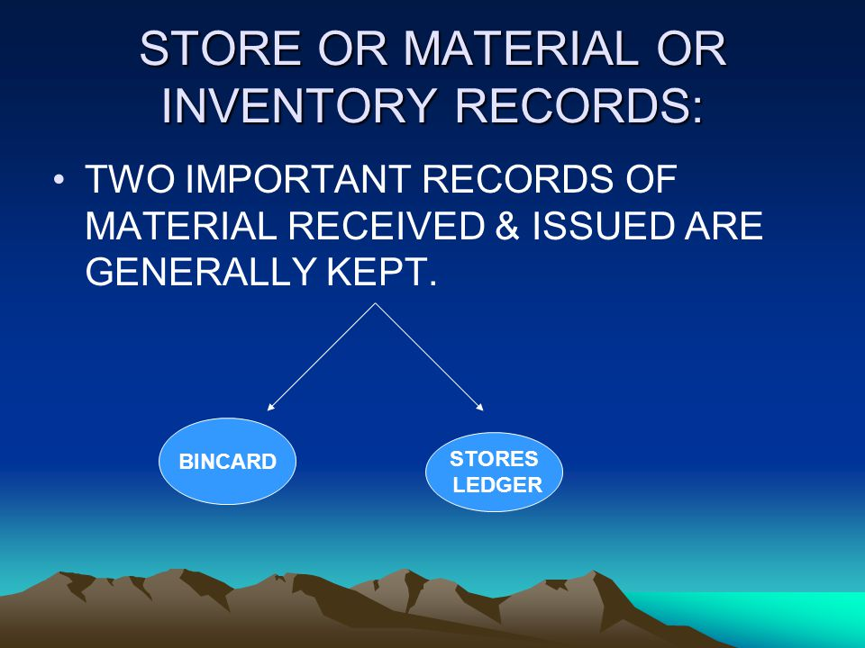 STORE OR MATERIAL OR INVENTORY RECORDS: