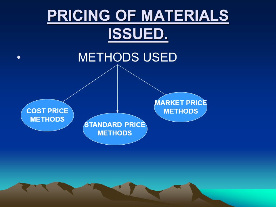 PRICING OF MATERIALS ISSUED.