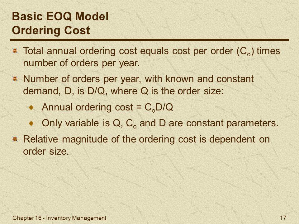 Basic EOQ Model Ordering Cost