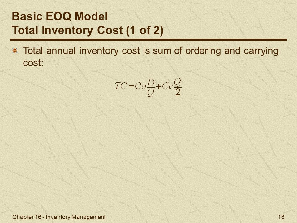 Total Inventory Cost (1 of 2)