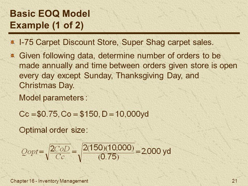 Basic EOQ Model Example (1 of 2)