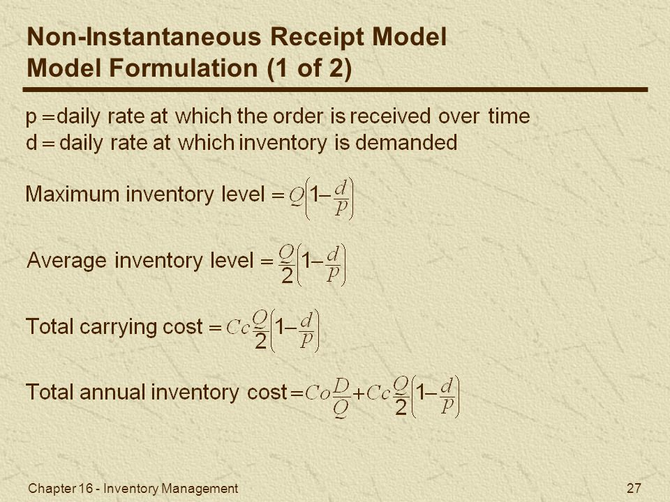 Non-Instantaneous Receipt Model Model Formulation (1 of 2)