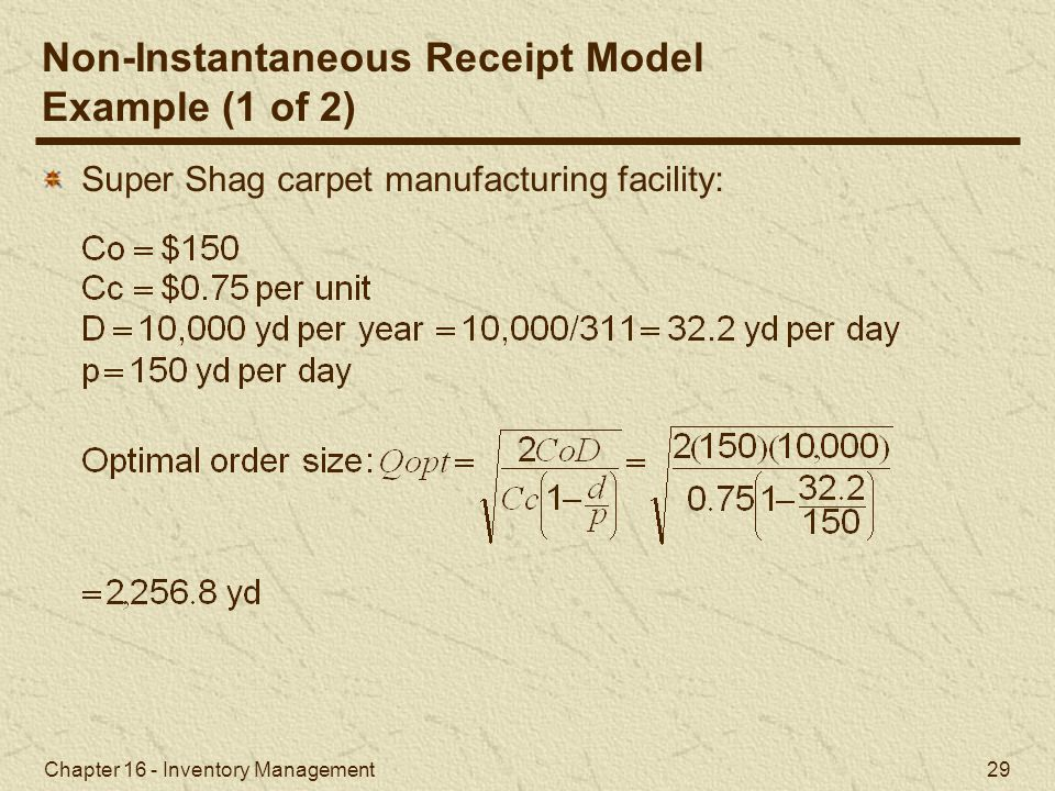 Non-Instantaneous Receipt Model Example (1 of 2)