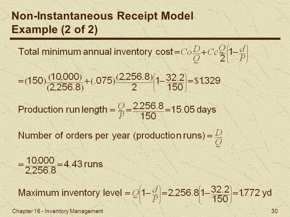 Non-Instantaneous Receipt Model Example (2 of 2)