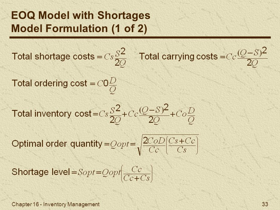 EOQ Model with Shortages Model Formulation (1 of 2)