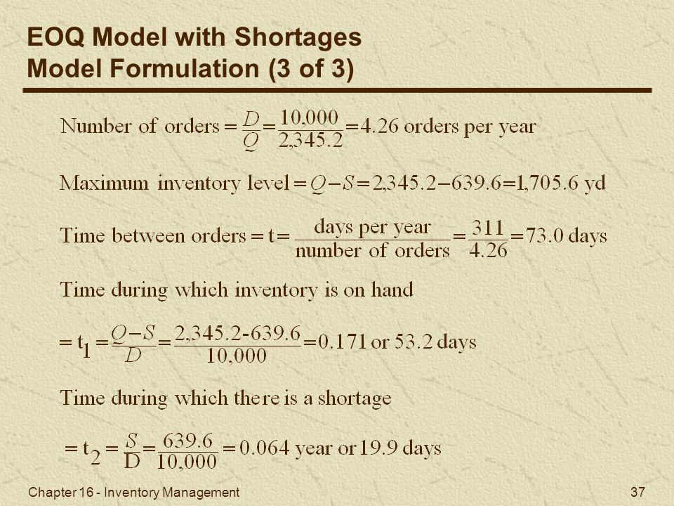 EOQ Model with Shortages Model Formulation (3 of 3)