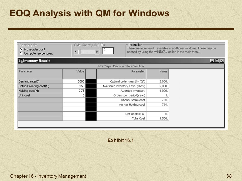 EOQ Analysis with QM for Windows
