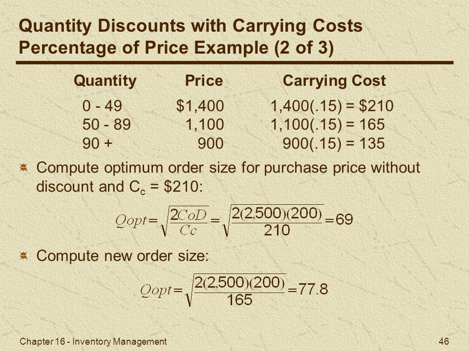 Quantity Discounts with Carrying Costs
