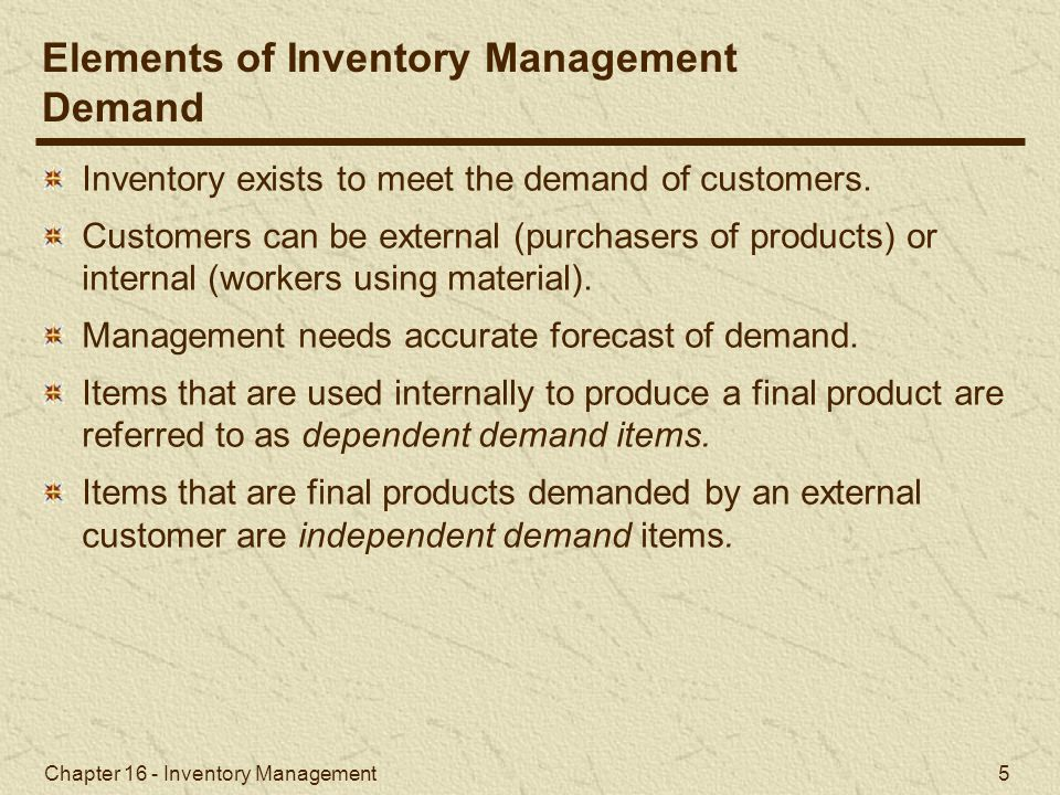 Elements of Inventory Management Demand
