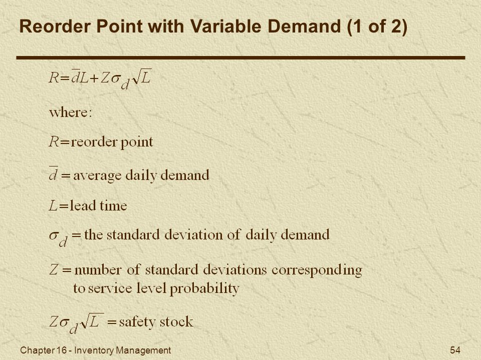 Reorder Point with Variable Demand (1 of 2)