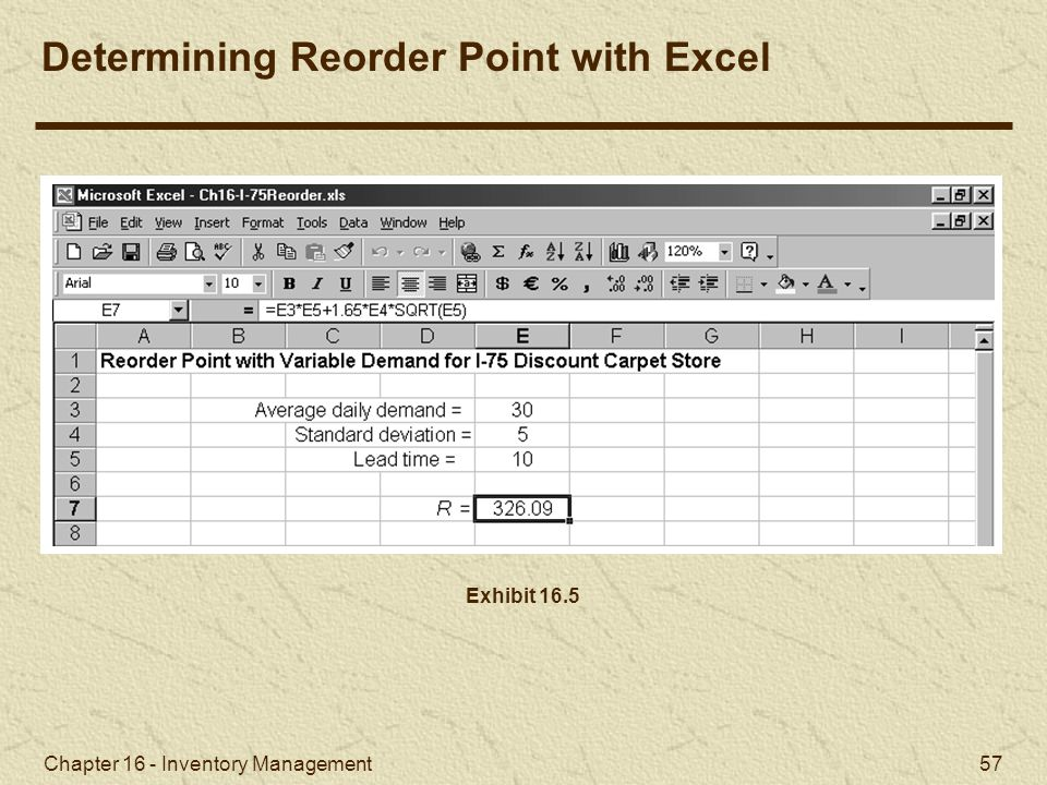 Determining the Reorder Point with Excel