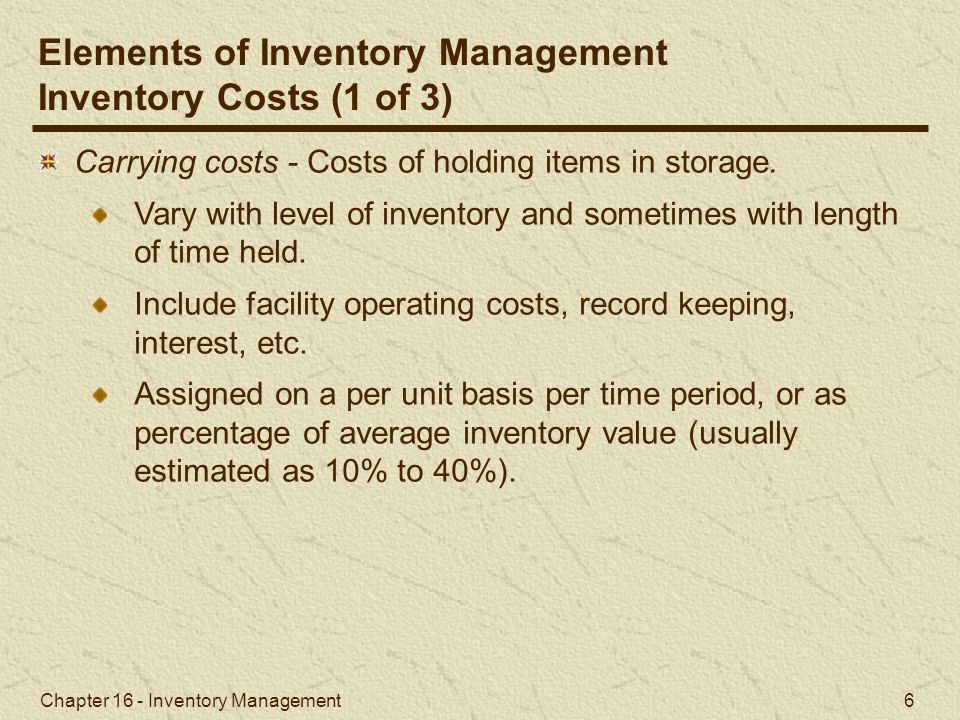 Elements of Inventory Management Inventory Costs (1 of 3)
