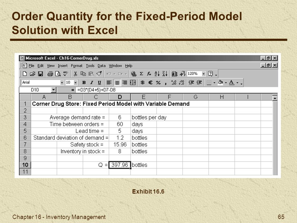 Order Quantity for the Fixed-Period Model Solution with Excel