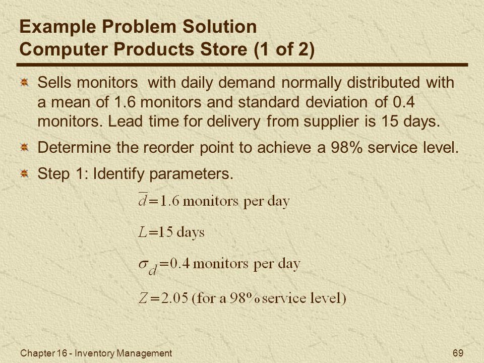 Example Problem Solution Computer Products Store (1 of 2)