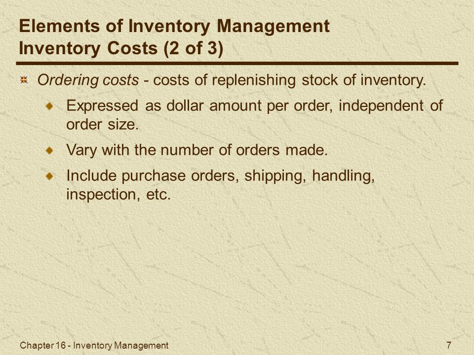 Elements of Inventory Management Inventory Costs (2 of 3)