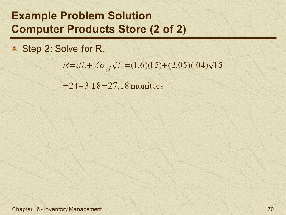 Example Problem Solution Computer Products Store (2 of 2)