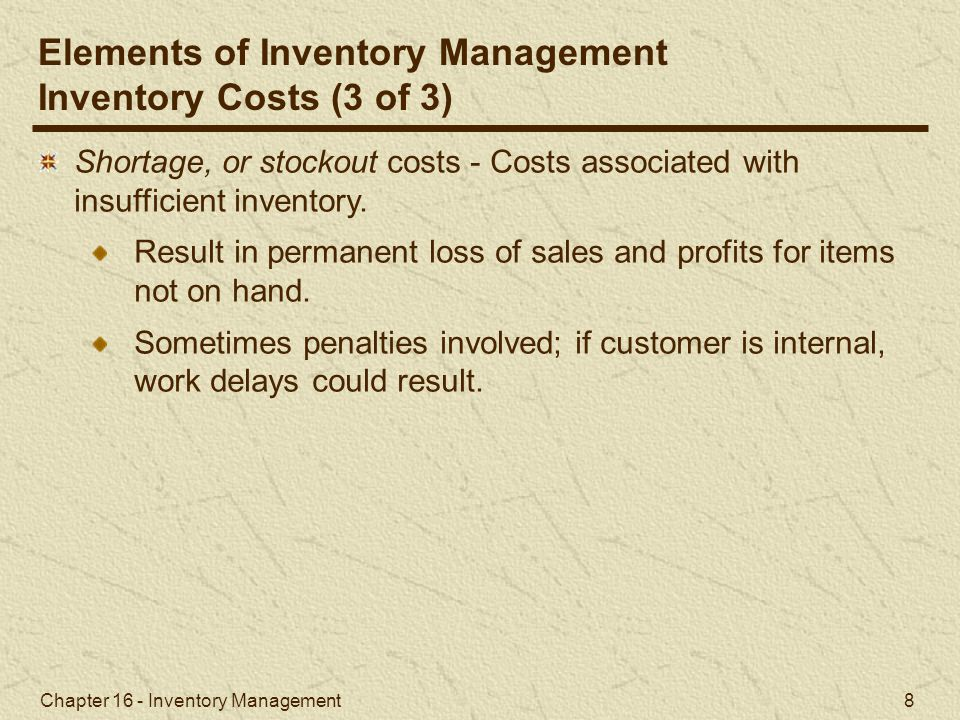 Elements of Inventory Management Inventory Costs (3 of 3)