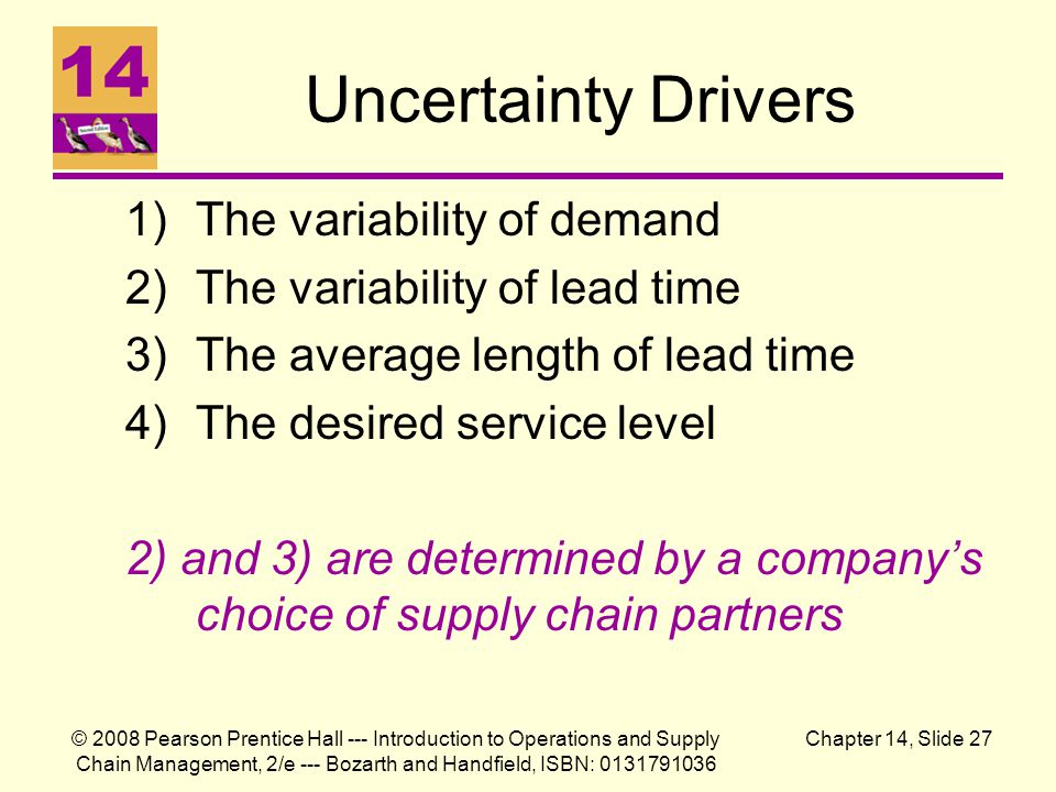 Uncertainty Drivers The variability of demand