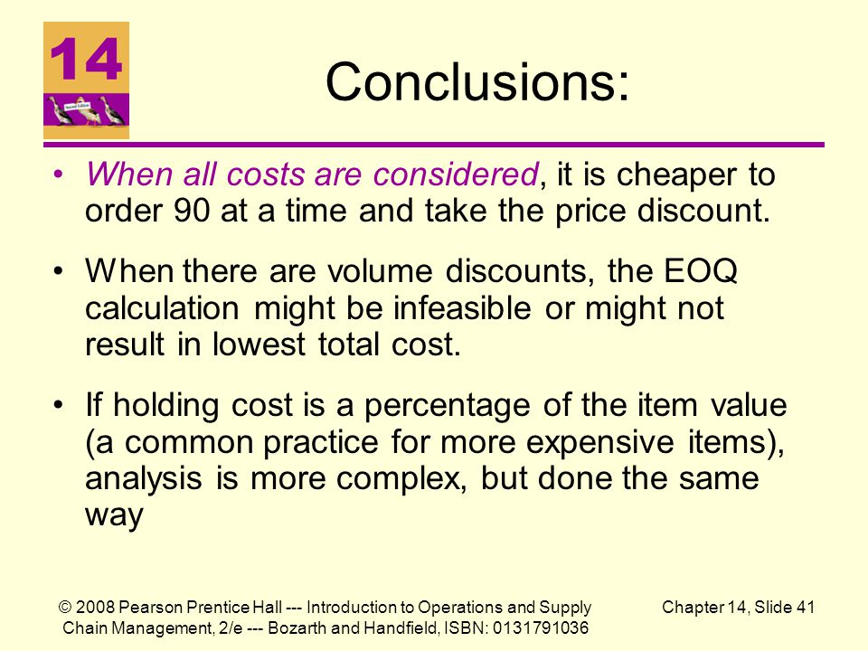 Conclusions: When all costs are considered, it is cheaper to order 90 at a time and take the price discount.